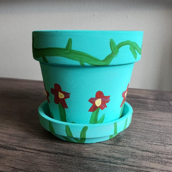 Painted blossom pot for flowers