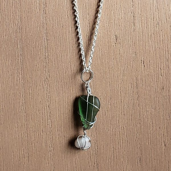 Handcrafted Green Sea Glass with Stone Necklace
