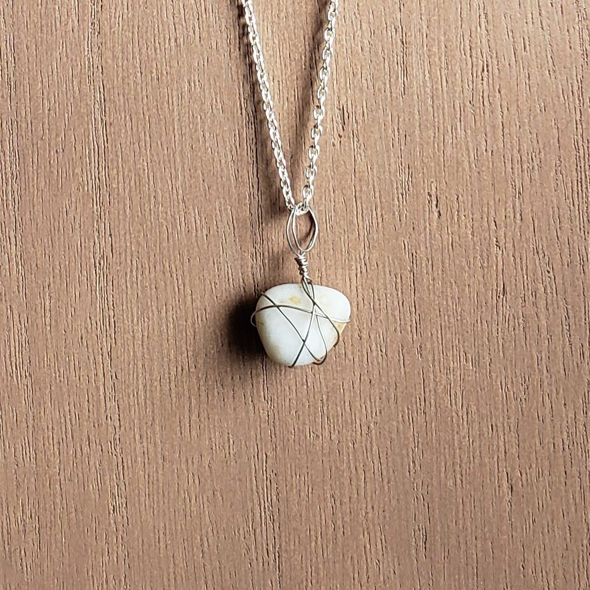 Homemade beach sea glass necklace