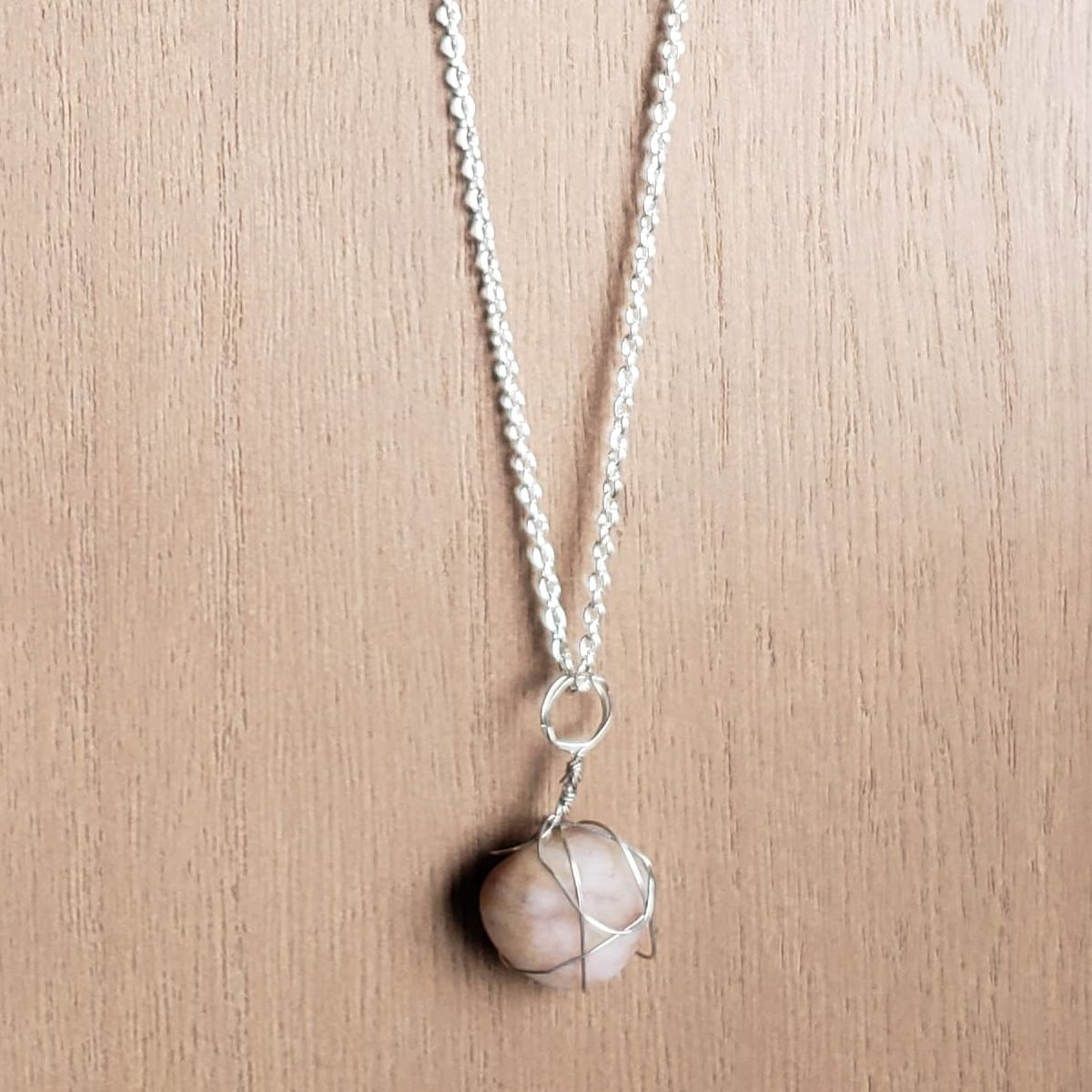 Handcrafted sandy white stone necklace