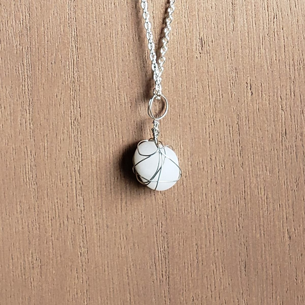 Handcrafted white pearl necklace