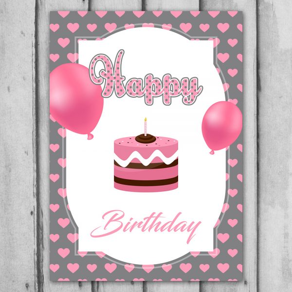 Pink Downloadable Happy Birthday Card